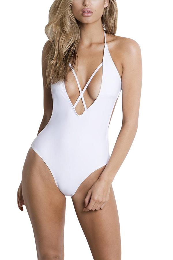 Sexy Criss Cross Deep V Halter Backless Plain One Piece Swimsuit White