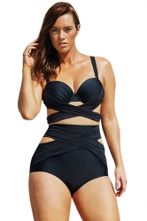 Image of Sexy Cross Bandage Top&High Waisted Bottom Cut Out Bikini Set Black
